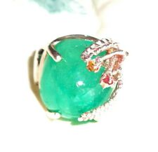 Vintage & Natural Colombian Sugar Loaf 20 CT Emerald Ring Gemstone Flower SS
