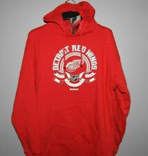 NHL Reebok Detroit Red Wings Hockey Hooded Sweatshirt Mens Sizes New $60
