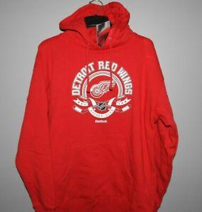 NHL Reebok Detroit Red Wings Hockey Hooded Sweatshirt Mens Sizes New $60
