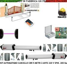 CANCELLO AUTOMATICO 5 MT 2 ANTE KIT AUTOMATISMO 220 V. RADIOC FOTOC FARO ANTENNA