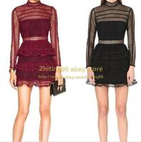 Womens Occident Style Ladies New High Neck Lace Mini Dress Sexy Gown Short Party