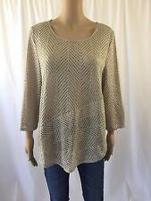 TRAVELERS CHICOS Blouse Top Shirt 2 Large 12 Beige Crochet Tunic 3/4 Sleeve EUC