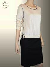 NEW$49.9 BANANA REPUBLIC Women Sweater MEDIUM Ivory Cream Crew Neck Long Sleeve