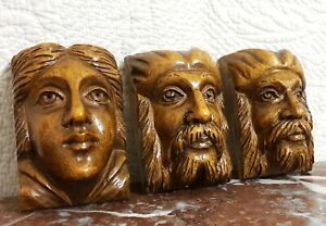 3 Gothic mascaron carving corbel bracket Antique french architectural salvage