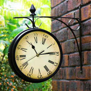 Garden Wall Station Clock Ornament Thermometer double sided Bracket Swivels