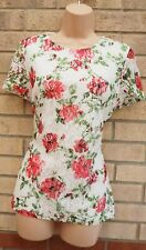 DOROTHY PERKINS WHITE RED FLORAL ROSES LACE FRONT SHORT SLEEVE BLOUSE TOP 14 L