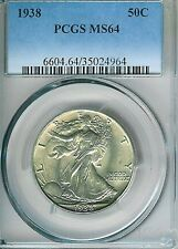 1938 Walking Liberty Half Dollar : PCGS MS64