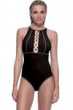 Profile Sport by Gottex Size 16 Solid Black/Gold High Neck 1-Piece Swimsuit NWT