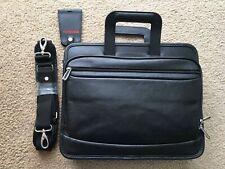 Toshiba Leather 3 Compartment Laptop Messenger Shoulder Bag Mens Women 14 inch