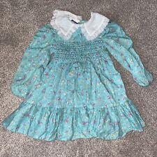Vintage Polly Flinders Blue Flower Smocked Girls Dress Size 4 Lace Party Pink