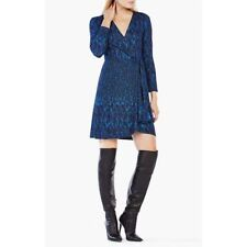 NWT BCBG MAXAZRIA Adele Wrap Dress Black Deep Royal Blue Size S Ret. $198