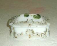 Vintage Antique Milk Glass Trinket Box Hand Painted Ornate Embossed Gold Trim