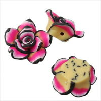 30x 110330+  New Flowers Charms Rainbow FIMO Polymer Clay Beads Finding 20mm