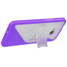 For HTC ONE / M7 TPU S-Line Flexi Skin Case Cover Kick Stand Purple S-Shape