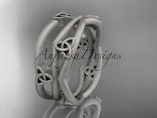 Platinum celtic knot wedding band, matte finish engagement ring CT7350G