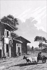 BERGERS des LANDES sur leurs ÉCHASSES - Gravure du 19e siècle