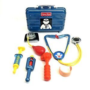 VTG Fisher-Price Medical/Doctor Kit BLUE HARD CASE(77810) Old Instrument Toy Lot