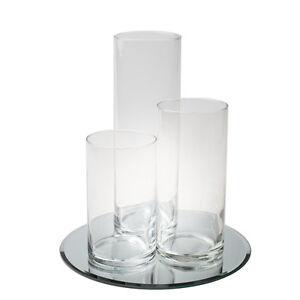 Eastland Round Mirror and Cylinder Vases Centerpiece 4 Piece Set, Event Decor