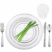 180 Clear Full table Settings Plates, Cups, Cutlery Disposable Plastic