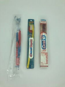 Vintage Toothbrush Youth Oral B Crest Complete Ski 3 Row Sealed NOS Red Yellow