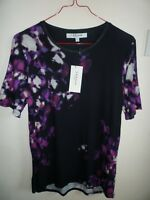 L.K. Bennett Ladies Black and Floral Top New Size S