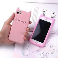 3D Bearded Cat Cartoon Soft Silicone Shockproof Case Cover For iPhone & Samsung