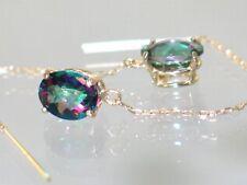 Mystic Fire Topaz 14KY Gold Threader Earrings, E103