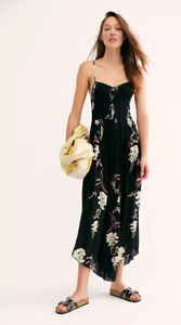 Free People Women's Beau Smocked Printed Slip Dress in Black Size XSMALL