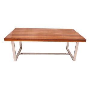 Veneer Top Stainless Steel Stand Dining Table