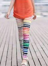 Multi Stripes Women's Colorful Full Length Stretchy Slim Fitting summer Leggings