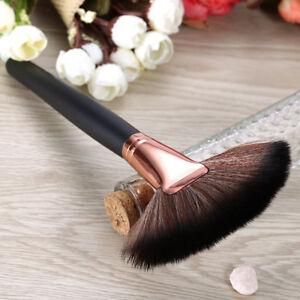 Women's Professional Big Fan Shape Blusher Brown Makeup Brush Powder Foundation