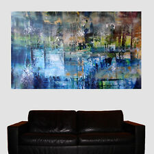 Marcel Wehl XXL ACRYL GEMÄLDE Kunst Modern Malerei  BILD Abstrakt groß gold blau