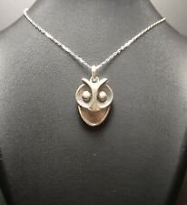 Cool Owl Design Necklace + Pendant, 925 Sterling Silver Bird Owl Lover