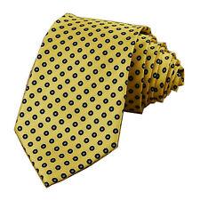 Yellow Navy Polka Dot 3.15'' 100% Silk Classic Jacquard Man's Tie Necktie JS20