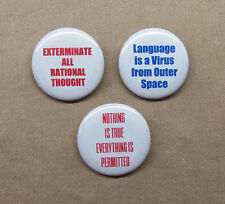 "William S Burroughs 3 Quote Buttons 1.25"" Language ia a Virus Exterminate True"