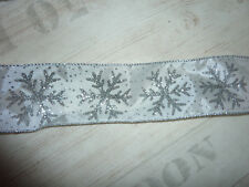 White Silver Glitter Snowflake Xmas Ribbon Cakes, Bows Wreath Wire Edge 63mm 1m