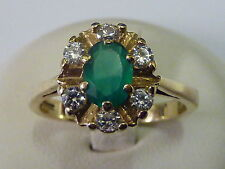 Ladies 9ct Gold Green Stone & CZ Cluster Ring - Size O 1/2
