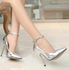 Ladies Men Sexy Ankle Strap Stiletto 13cm High Heels Shoes Prom Party Plus size