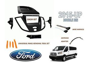2015 - UP FORD TRANSIT VAN Double DIN Dash Radio Install Kit with Wire Harness