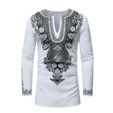 New African Tribal Shirt Men's Dashiki Print Hippie Tops Blouse Shirts Popular