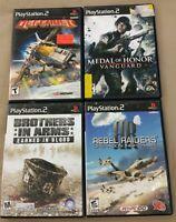 Playstation 2 PS2 War Game Lot DEFENDER, MEDAL OF HONOR VANGUARD & REBEL RAIDERS