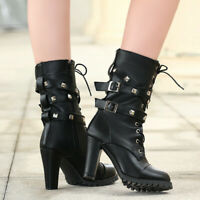 Women High Heel Combat Boots Studded Casual Lace Up Mid Calf Boots Buckle Strap
