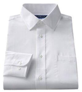 "Men's Croft & Barrow Classic-Fit Easy Care ""Spread"" Collar Dress White Shirt"