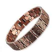 Mens Elegant Vintage Pure Copper Magnetic Therapy Link Bracelet Pain Relief