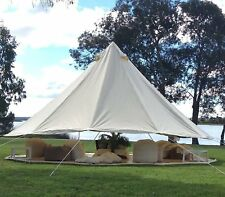 6M Beige Bell Tent Canvas Tent Waterproof Camping Glamping Large 10-12 persons