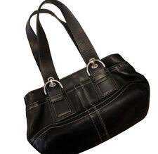 Coach F10911 Black Leather Nickel Soho Tote Carryall Bag Purse handbag