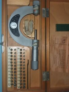Suhl Screw Thread Pitch Micrometer 25-50mm Gewindemicrometer Anvil/Tip Full set