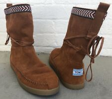 TOMS Nepal Brown Suede Leather Ankle Mid Boots Womens Size 8M 300613 Moccasin