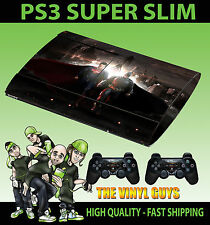 PLAYSTATION PS3 SUPER SLIM BATMAN VS SUPERMAN HERO SKIN STICKER & 2 X PAD SKINS