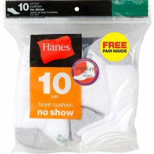 "Hanes Boy's 10 paris cushion No Show socks "" COTTON """